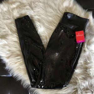 Spanx Black Sequin Faux Leather Legging Large HTF